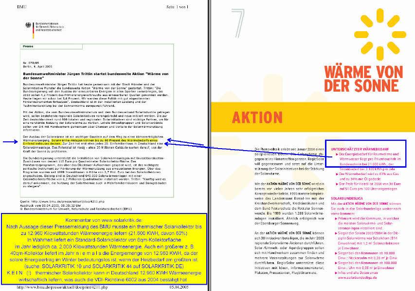 Pressemitteilung des damaligen Bundesumweltministers Jürgen Trittin vom 04.04.2005, Mit Kommentar von SOLARKRITIK.DE