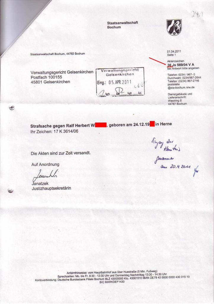 """SOLARKRITIK.DE hat die persönlichen Daten des Beschuldigten mit ROTEN Balken anonymisiert, damit der Beschuldigte durch die hier veröffentlichte und dokumentierte """"endlose Dummheit (?) der Staatsanwaltschaft Bochum"""" nicht doppelt bestraft wird."""