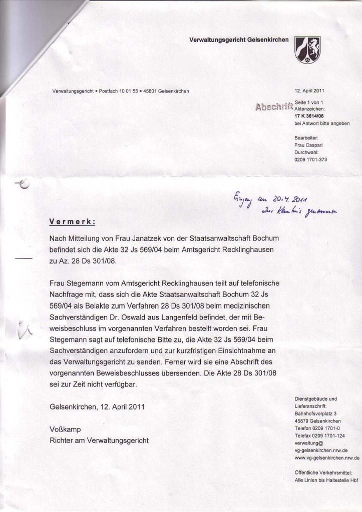 VerwGerGelsenk_20110412_RichterVosskamp_Aktenvermerk