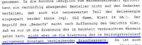 Ausschnitt aus der Urteilsbegründung des Urteils Amtsgericht Marl vom 15.02.2002, AZ: 16 C676/01, BLAU-Markierung durch SOLARKRITIK.DE