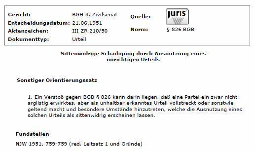 BGH_Sittenwidrigkeit_unrichtigesUrteil