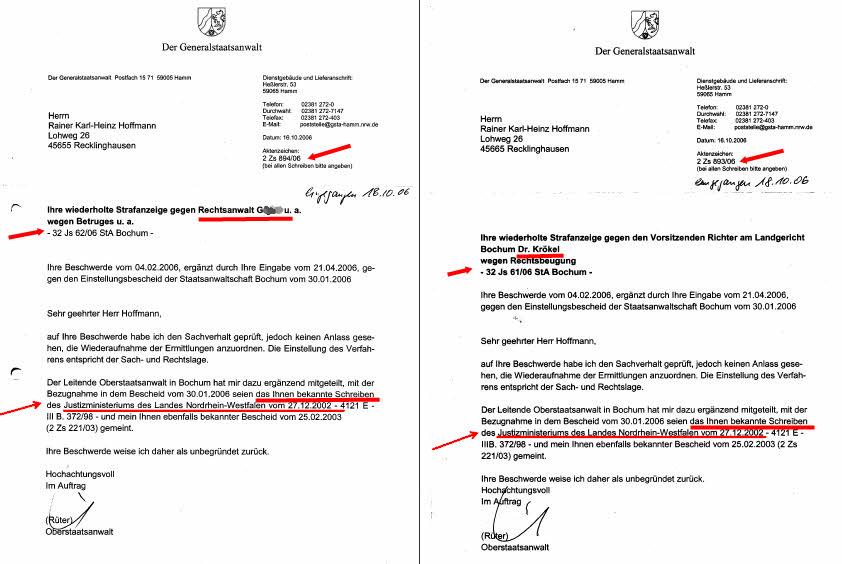 Einstellungschreiben der Generalstaatsanwaltschaft Hamm vom 16.10.2006 zu AZ: 32 Js 62/06 und 32 Js 61/06