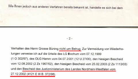 Ausschnitt aus Bescheid der Generalstaatsanwaltschaft Hamm vom 22.05.2003 (Rotmarkierung durch SOLARKRITIK.DE)