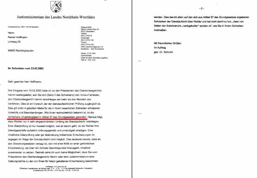 Schreiben des NRW-Justizministeriums vom 27.02.2002 (ROT-Markierung durch SOLARKRITIK.DE)