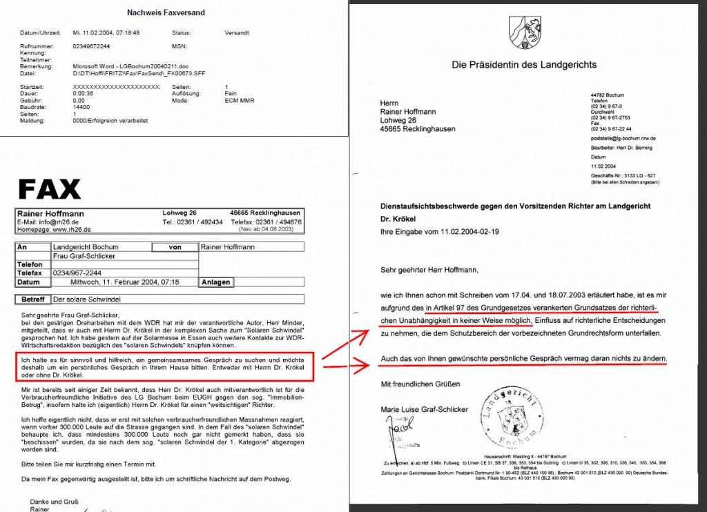 Verweigerung der richterlichen Gesprächsbereitschaft unter Hinweis auf Artikel 97 GG durch das Landgericht Bochum