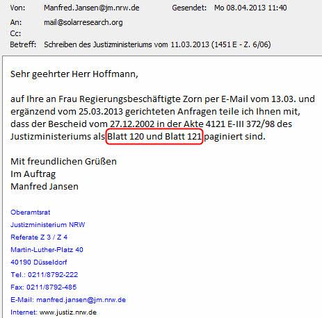 Mail vom 08.04.2013 (ROT-Markierung durch SOLARKRITIK.DE)