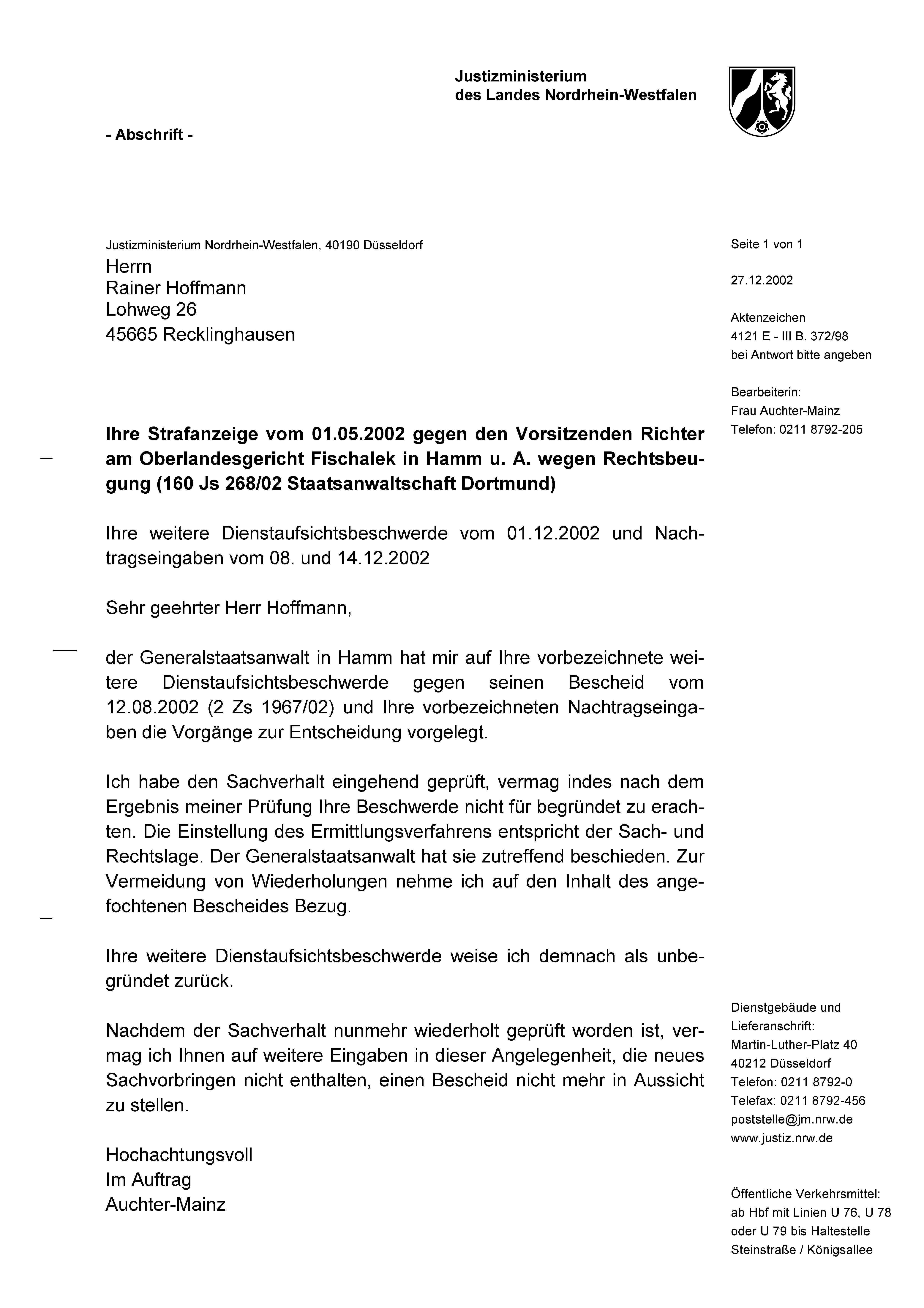Nrw Justizministerium Bestatigt Rechtsanwalt Aus Recklinghausen Mit Richterprivileg Seit 2002 Straffrei Gestellt Solarkritik De Die Geheimakte Hoffmann