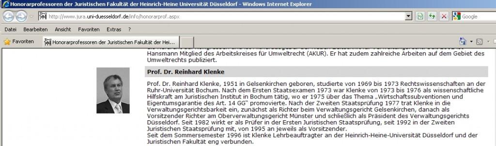 Screenshot vom 25.01.2010 der Webseite der Heinrich-Heine-Universität in Düsseldorf