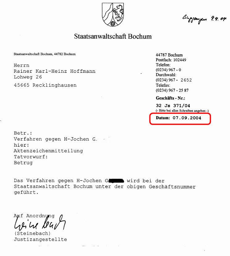 Schreiben der Staatsanwaltschaft Bochum vom 07.09.2004, zu Strafanzeige 32 Js 371/04 (ROT-Markierung durch SOLARKRITIK.DE)