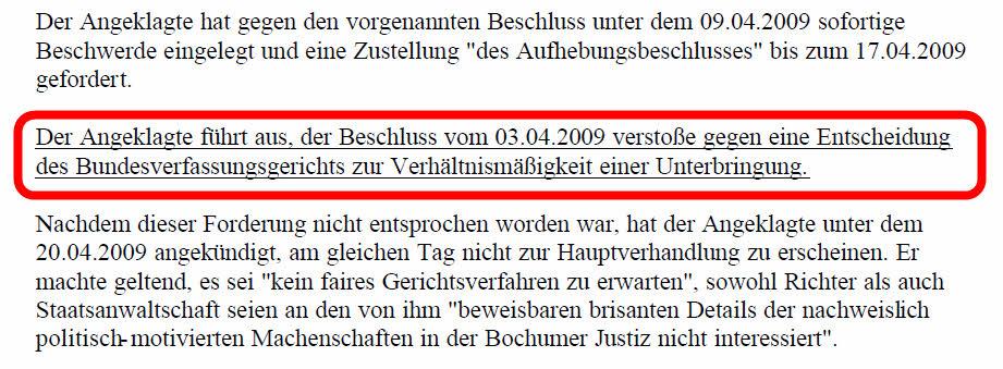 Ausschnitt aus Mail des NRW-Justizministerium vom 27.04.2010