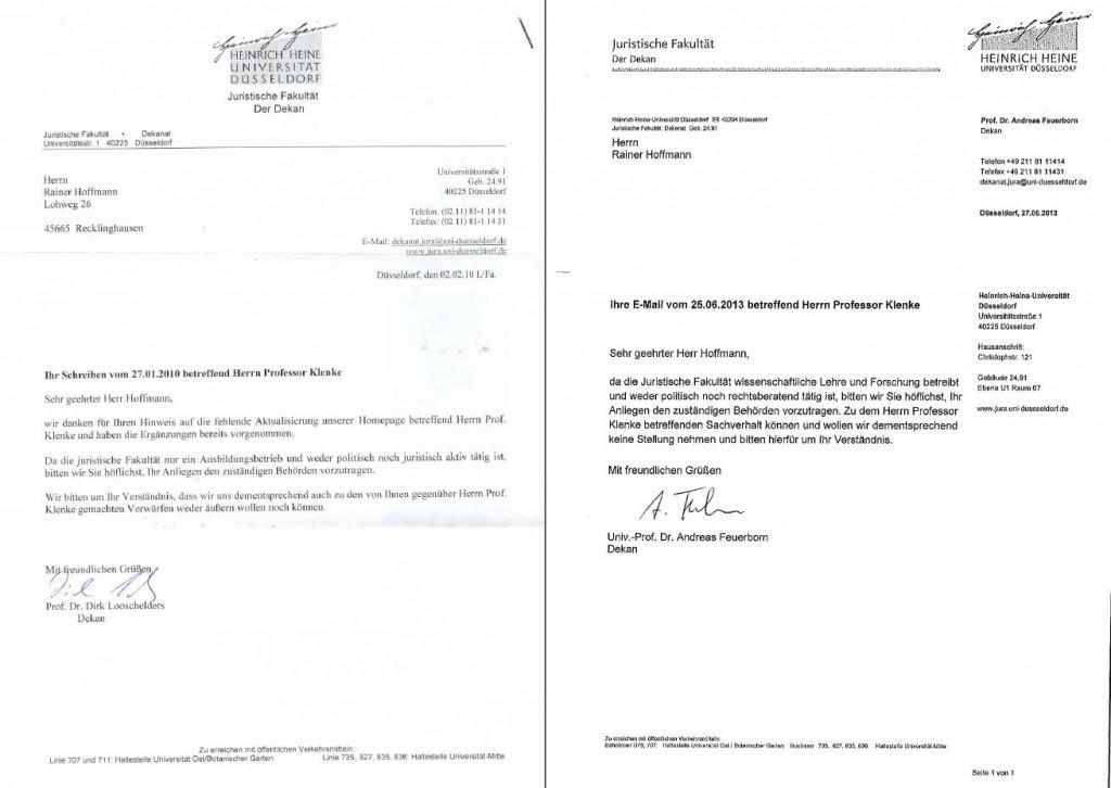 Schreiben vom 02.02.2010 und 27.06.2013 der juristischen Fakultät der Heinrich-Heine Universität in Düsseldorf.