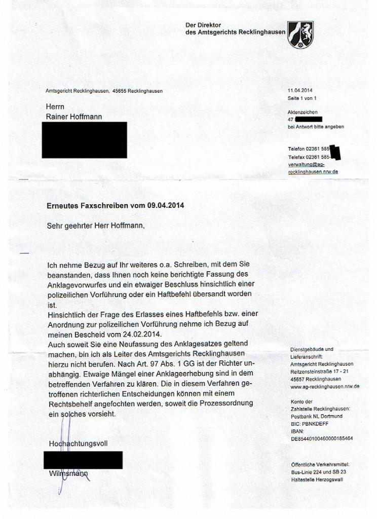 AmtsgerRecklinghausen_20140411_Drohmail_Poststempel20140415_Kenntnis20140416_Seite_1_ano