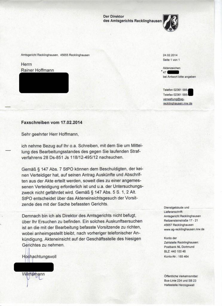 AmtsgerRecklinghausen_Brief_20140224_Poststempel20140227_Kenntnis20140228_StrafverfahrenDrohmail_ano