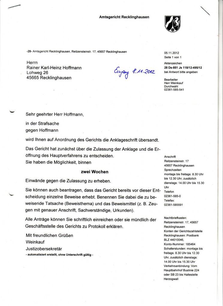 Anschreibenseite des Amtsgericht Recklinghausen vom 05.11.2012, was die Anklageschrift der STA Bochum vom 29.10.2012 enthielt.