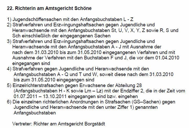 Ausschnitt aus GVP des Amtsgericht Recklinghausen vom 01.12.2012 bzw. 11.12.2012