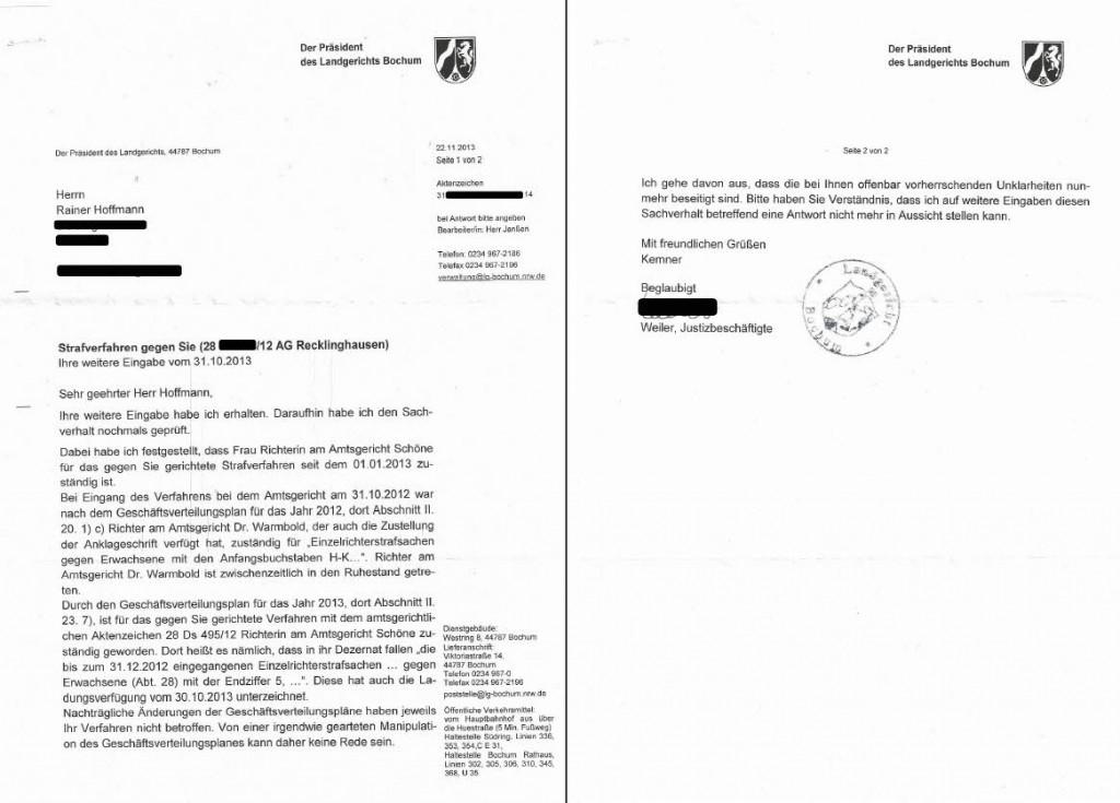 Bescheid Landgericht Bochum vom 22.11.2013