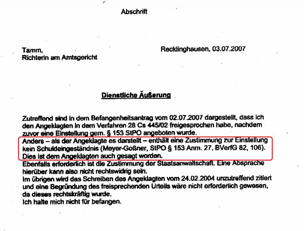 20070703_AmtsgerRE_Tamm_dienstlicheAuesserung_153StPO_rotMark