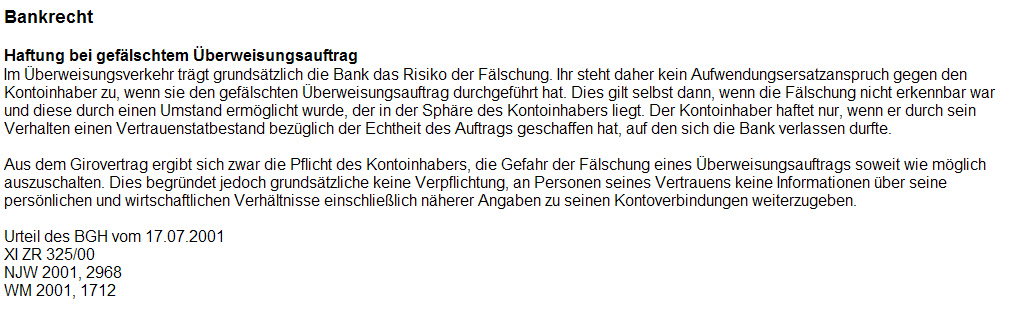 BGH_20010717_Bank_Ueberweisungsfaelschung